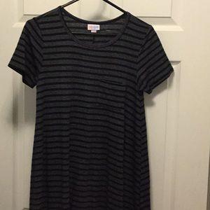 LuLARoe xxs Carly black and gray stripe